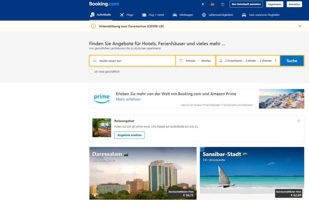 Booking.com Startseite