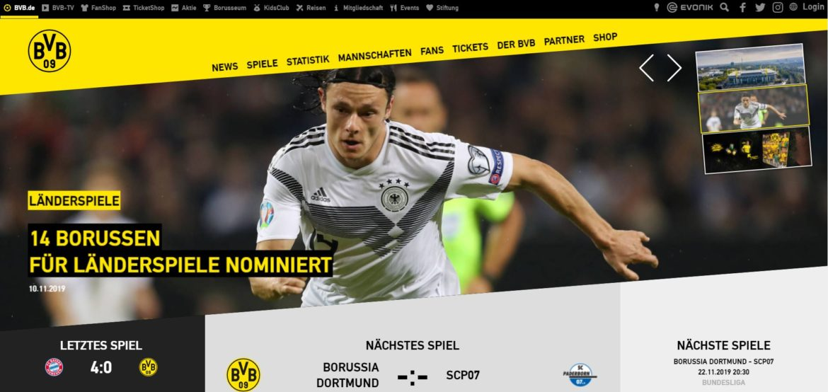 Screenshot Borussia Dortmund Website
