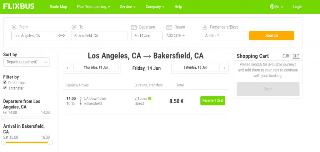 FlixBus USA Busfahrt von LA nach Bakersfield buchen auf FlixBus.com